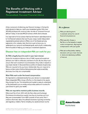 Thumbnail image of white paper cover for the benefits of working with a registered investment advisor